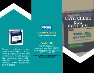 Buy Tata Green Car Battery Online