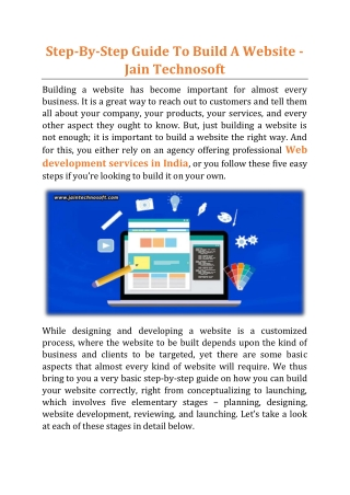 Step-By-Step Guide To Build A Website - Jain Technosoft
