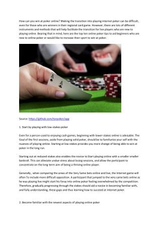 4 Tips For Beginner Poker Player