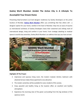 Godrej Worli Mumbai - Spacious Apartments With Spacious Rooms
