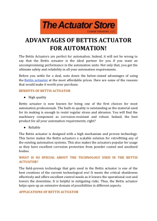 Advantages of Bettis Actuator for Automation!