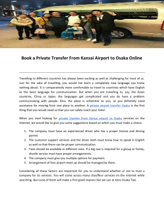 Book a Private Transfer From Kansai Airport to Osaka Online