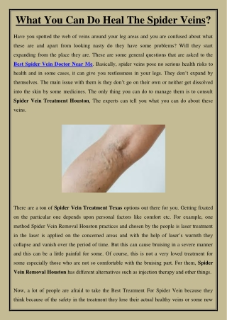 What You Can Do Heal The Spider Veins?