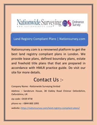 Land Registry Compliant Plans | Nationsurvey.com