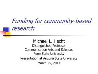 Funding for community-based research