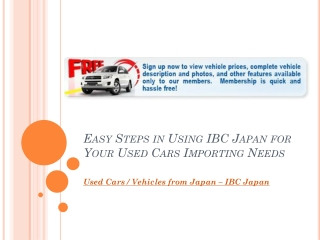 Easy Steps in Using IBC Japan for Your Used Cars Importing N