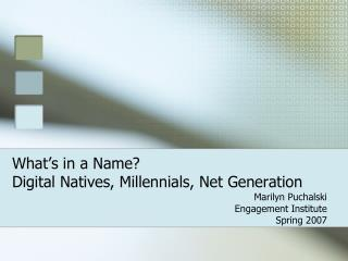 What s in a Name  Digital Natives, Millennials, Net Generation
