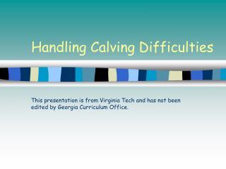 Handling Calving Difficulties