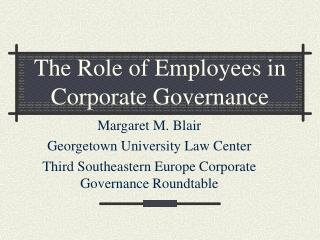 The Role of Employees in Corporate Governance