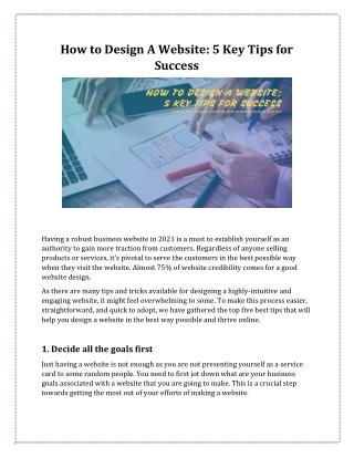 How to Design A Website: 5 Key Tips for Success