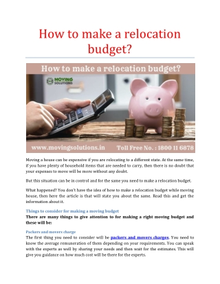 How to make a relocation budget?