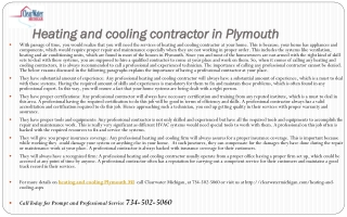 Heating and Cooling Contractor Plymouth MI