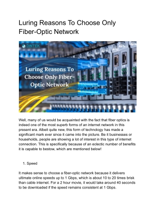 Luring Reasons To Choose Only Fiber-Optic Network