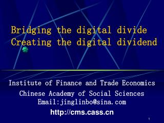 Bridging the digital divide Creating the digital dividend