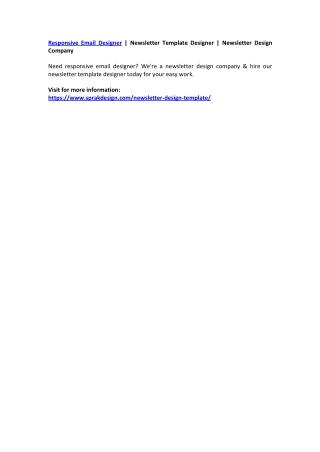 Responsive Email Designer   Newsletter Template Designer   Newsletter Design Company