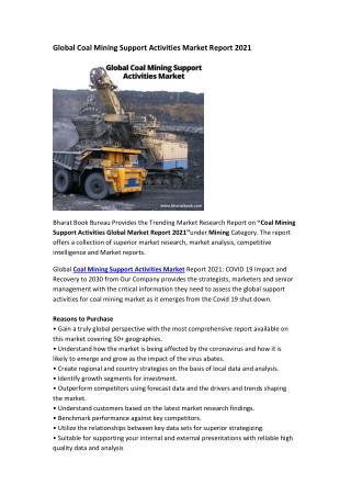 Global Coal Mining Support Activities Market Report 2021