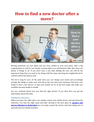 How to find a new doctor after a move?