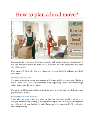 How to plan a local move?