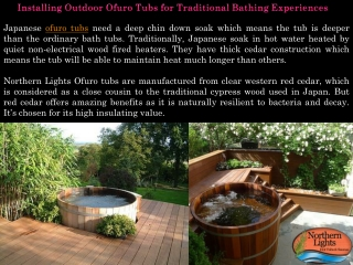 Installing Outdoor Ofuro Tubs - Northern Lights Cedar Tubs