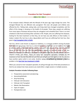 Procedure For Hair Transplant