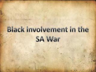 Black involvement in the  SA War