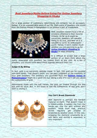 Bust Jewellery Myths Before Going For Online Jewellery Shopping in Dhaka