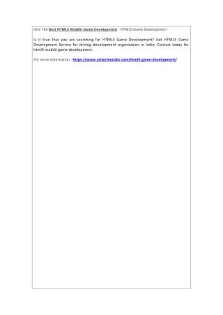 Hire The Best HTML5 Mobile Game Development - HTML5 Game Development