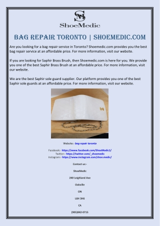 Bag repair toronto   Shoemedic.com