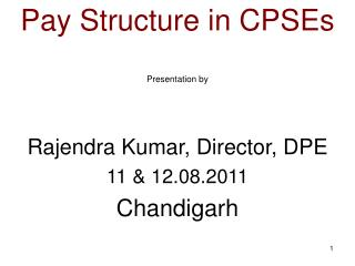 Pay Structure in CPSEs  Presentation by    Rajendra Kumar, Director, DPE 11  12.08.2011 Chandigarh