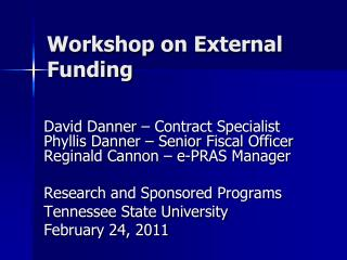 Workshop on External Funding
