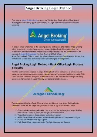 Angel Broking Login Method