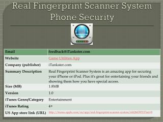 Real Fingerprint Scanner System + Phone Security