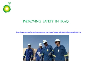 Improving safety in Iraq│BP HOLDINGS