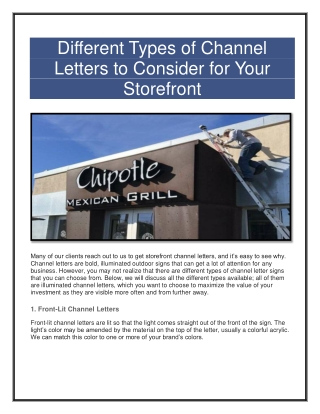 Design the Perfect Channel Letter Sign for Your Business