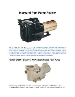 Inground Pool Pump Review