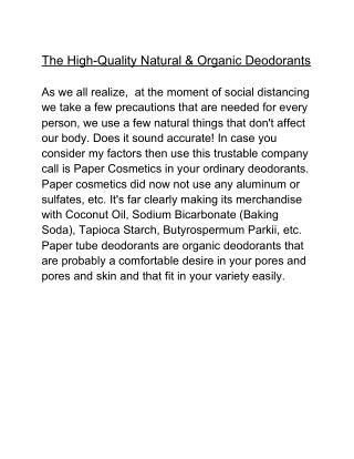 The High-Quality Natural & Organic Deodorants