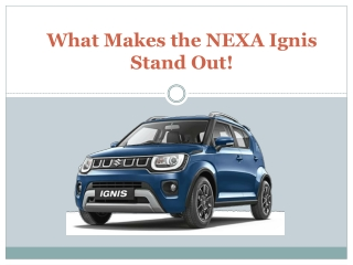 What Makes the NEXA Ignis Stand Out!