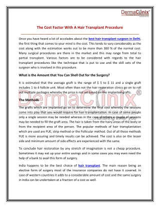 The Cost Factor With A Hair Transplant Procedure