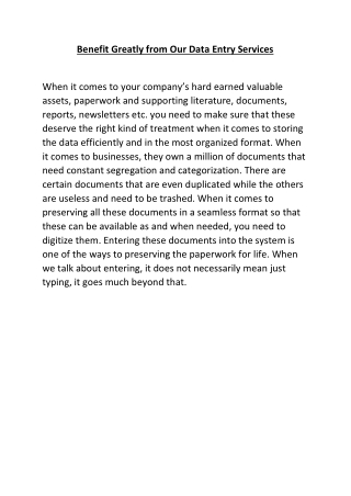 Benefit Greatly from Our Data Entry Services