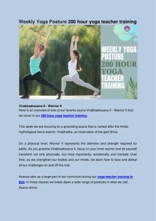 Weekly Yoga Posture 200 hour yoga teacher training