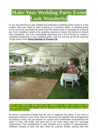 Make Your Wedding Party Event Look Wonderful