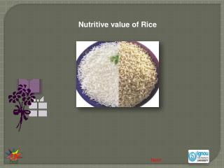 Nutritive value of Rice