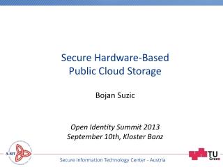 Bojan Suzic Open Identity Summit 2013 September 10th, Kloster Banz