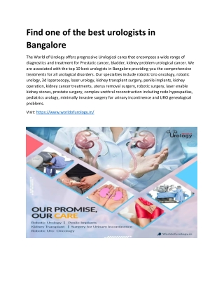 Find one of the best urologists in Bangalore
