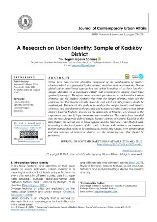 A Research on Urban Identity: Sample of Kadıköy District