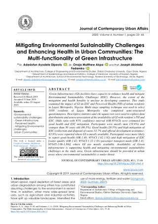 Mitigating Environmental Sustainability Challenges and Enhancing Health in Urban Communities: The Multi-functionality of