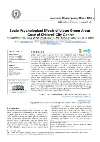 Socio-Psychological Effects of Urban Green Areas: Case of Kirklareli City Center