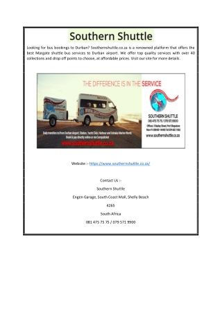 Bus Bookings to Durban | Southernshuttle.co.za