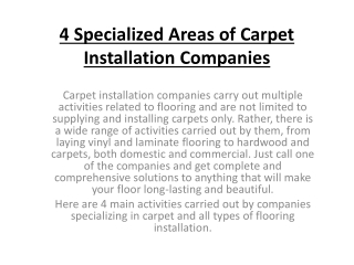 4 Specialized Areas of Carpet Installation Companies