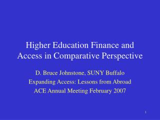 Higher Education Finance and Access in Comparative Perspective